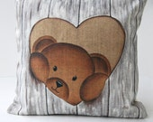 """Cushion cover shabby chic """"Teddy bear curious"""" kids cushion, birthday gift, nursery art, French decor from Paris, made in french"""