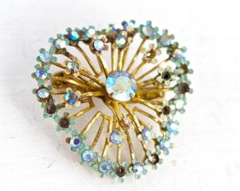 Dazzle - Vintage Blue Rhinestones Brooch