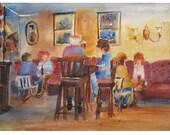 In an Irish Pub - an Original Watercolor