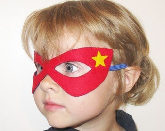Felt Superhero mask for kids (2-10 years) - red blue yellow star - Dress Up play photo prop costume accessory - Birthday gift for Boys Girls