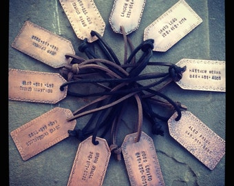 Copper Personalized Luggage Tag with Leather Cord