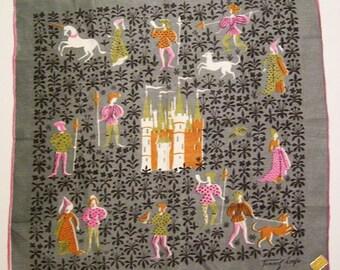 Vintage Designer Tammis Keefe Knights & Castle Unicorn Hankie