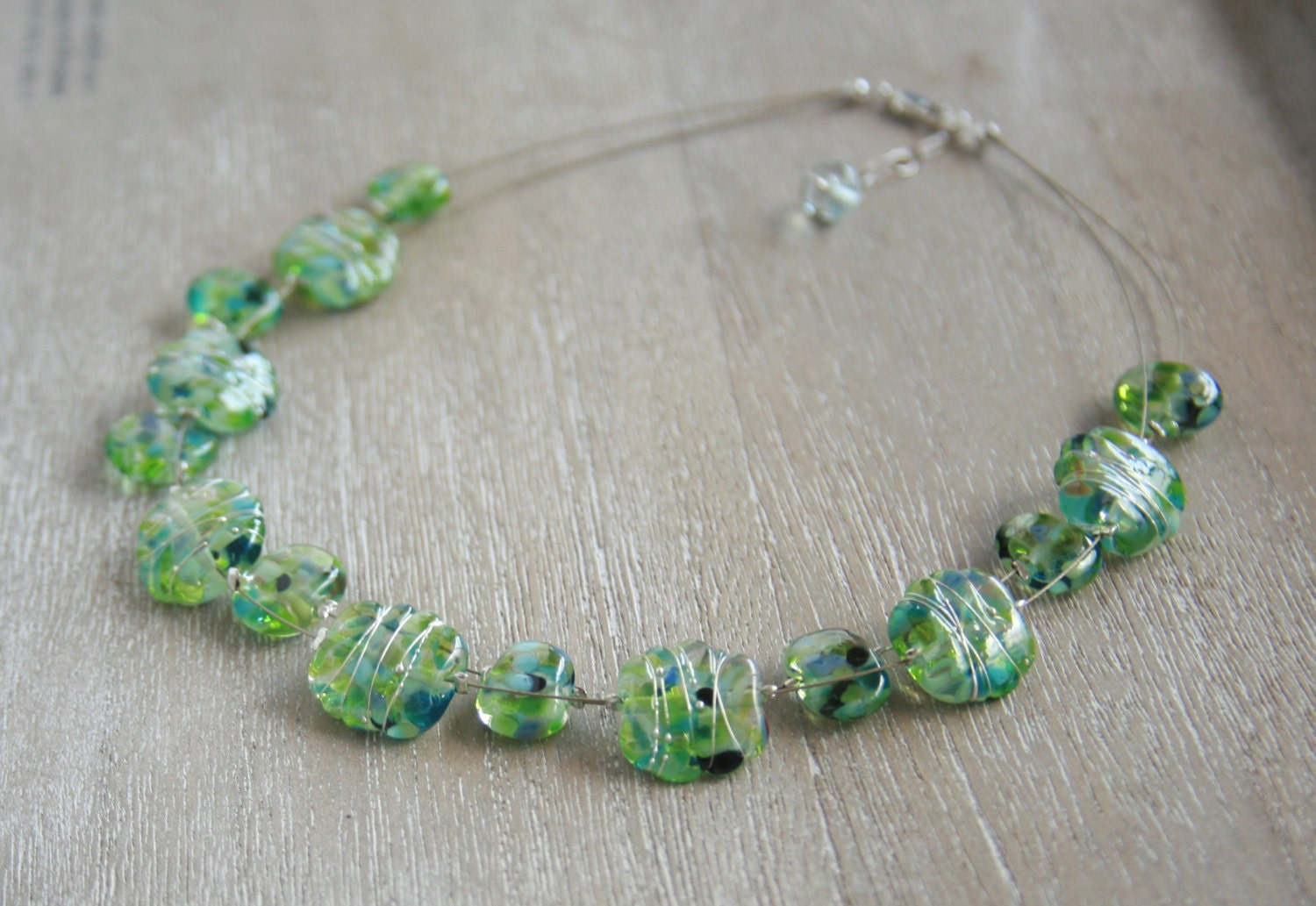 Recycled Glass Bead Necklace Made From A Wine Bottle