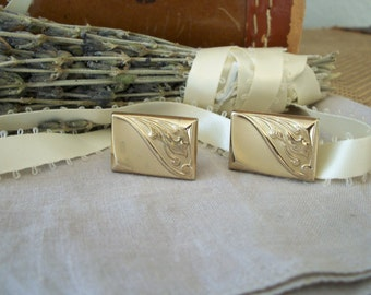 Vintage Cuff Links Mens Mid Century Retro Brass Art Nouveau Style So Stylish
