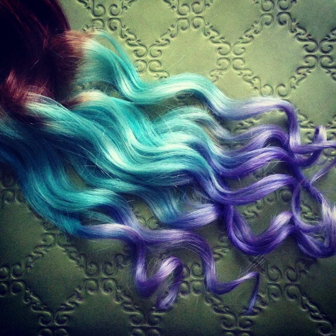 Pastel clip in hair extensions ombre hair mint purple tie zoom pmusecretfo Images