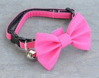 "Ready to Ship - 1"" Dog Collar - no bow tie - 3 sizes to choose from - Hot Pink"