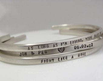 Personalized sterling silver Bracelet Hand Stamped With Your Words Set of 3