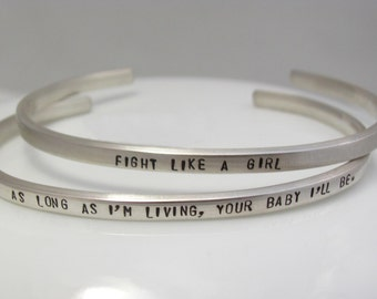 CUSTOM CUFF BRACELET - Sterling Silver Cuff Bracelet Hand Stamped With Your Words