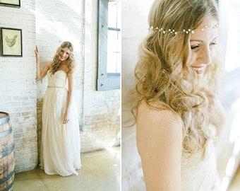 Pearl Halo, Pearl Wreath, Pearl Hair Vine, Pearl Headband, Boho Headband, Bridal Headband, Whimsical Headband, Gatsby Headband, Norma Halo