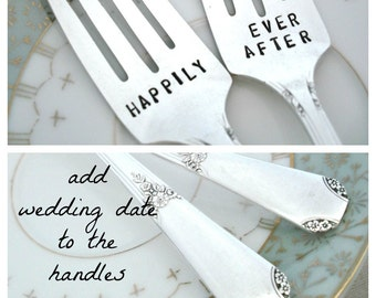 HAPPILY EVER AFTER Forks  - Wedding  Forks - Hand Stamped Forks - Add Wedding Date to Handles -  Rio 1930