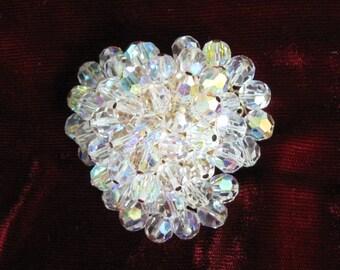 1950s Crystal Aurora Borealis Bead Brooch