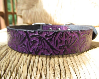"Violet  Leather Dog Collar.  1"" Wide Purple and Black Embossed Vine Collar. Made to Order."