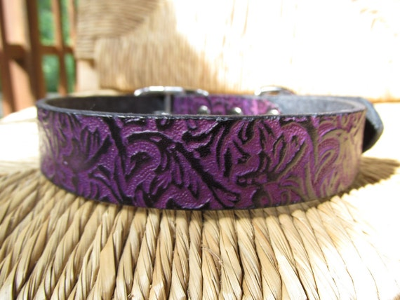 """Violet  Leather Dog Collar.  1"""" Wide Purple and Black Embossed Vine Collar. Made to Order."""