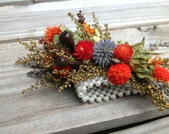 Dried and Preserved Flower Wrist Corsage - Fall Rustic Wedding - Orange, Brown, Grey, Gray Blue, Billy Balls - Tequila Sunrise Collection