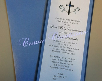 Simple Blue & White First Communion Invitation