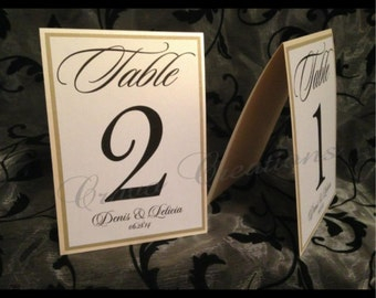 Champagne & Gold Tented Table Numbers