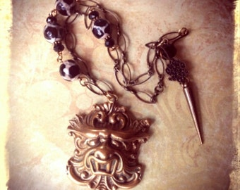 Vintage Dragon Escutcheon Necklace - Upcycled, Goth, Victorian, Hardware, Steampunk, Unique, Wiccan, Industrial, One of a Kind Jewelry