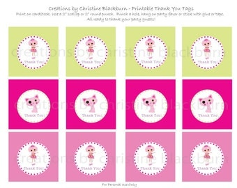 Lalaloopsy - Jewel Sparkles Party Printable Thank You Tags -  INSTANT DOWNLOAD