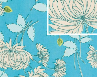 11215 Amy Butler  Belle collection Chrysanthemum in blue  cotton Fabric - 1 Yard