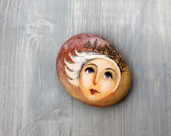 Painted stone. original painted pebble. Beach pebbles art