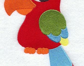 Cartoon Macaw Parrot Embroidered Flour Sack Hand/Dish Towel