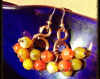 Stripped agate & dragon veins copper earrings