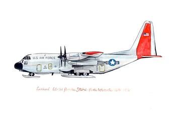 """LC-130 Hercules Skibird, watercolor print 8x10"""""""