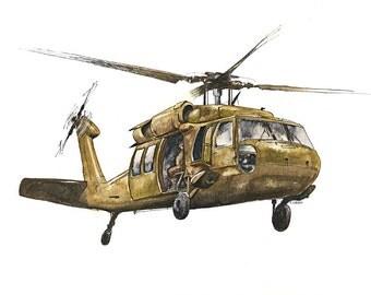 "UH-60 Blackhawk, Alternate version, US Army Aviation watercolor print, 8x10"""
