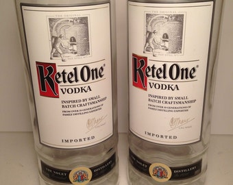 Ketel One Vodka 1 Liter Recycled Bottle Glasses - Set of 2