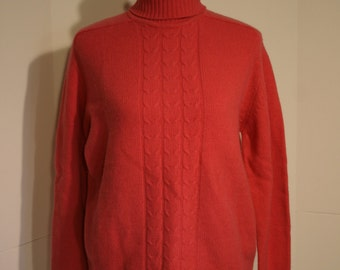 Vintage Lambswool Sweater Brand New Full Fashioned Pink Turtleneck Gorgeous size 42