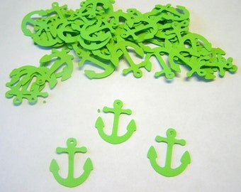 100 Lime Green Anchor  Confetti Nautical Die Cut Cutout Embellishment Table Scatter