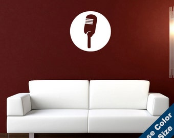 Vintage Microphone Wall Decal - Vinyl Sticker - Free Shipping