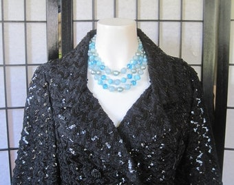 Vintage 1960s Black Sequin Blazer Double Breasted Party Jacket by Lee Jordan New York Small Medium 34 Bust
