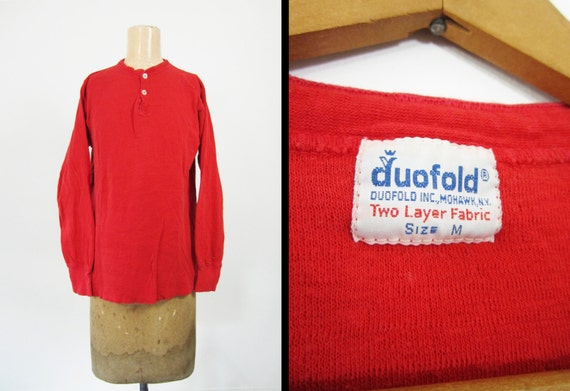 Vintage 70s Duofold Henley Shirt Thermal Long Underwear Wool
