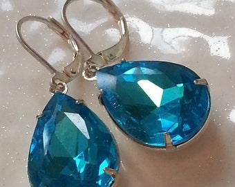 Aqua Sparkle Dew Drop Earrings