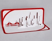 SAN FRANCISCO SKYLINE Pop Up 3D Card Home Decoration Origamic Architecture Hand Cut in White and Metallic Red Folds Flat OOaK