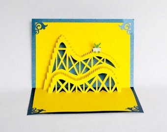 ROLLER COASTER 3D Pop Up Greeting Card, Birthday, Vacation Home Decor Handmade Origamic Architecture in Bright Yellow and Metallic Blue OOaK