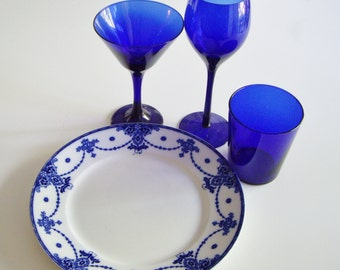 Vintage, Dish Set, Place Setting, Cobalt Blue, Mix and Match, Dish Set, Gift Idea, Antique, Flow Blue, Modern Old Mix, Blueware