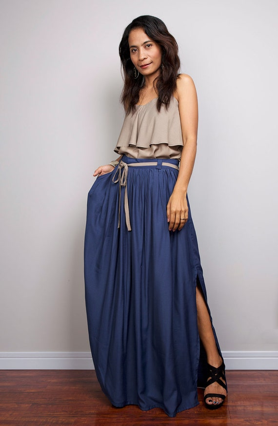 Floor Length Skirt / Navy Blue Skirt - Long Cotton Maxi Skirt : Feel Good Collection IV