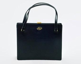 Vintage 1940's Bienen-Davis Black Leather Handbag