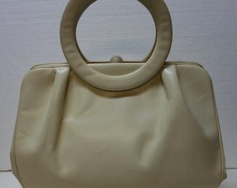 JULIUS GARFINCKEL's 60s Vanilla Leather Purse w/Bracelet Handles