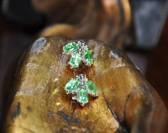 Vintage Bogoff green rhinestone earrings