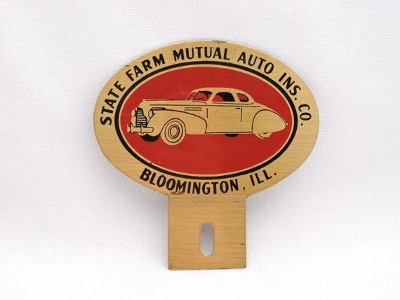 Vintage State Farm Auto Insurance License Plate Topper Emblem