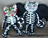 Day of the Dead Vampire Bat Cat Art Doll Instant Download Pattern Día de Muertos