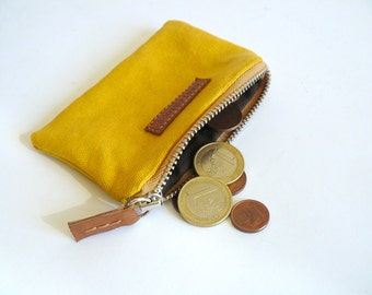 Handmade men retro yellow waxed-resined canvas coin purse - wallet - Gifts for men- Gifts for women