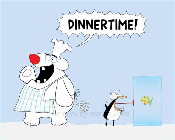 Polar Bear Chef Hunts A Penguin with A Fish In A Ice Cube Dinner Time Joke or Christmas greeting card