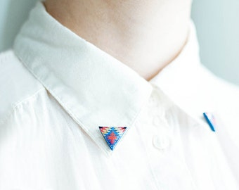 Red blue collar brooches, tribal collar pin