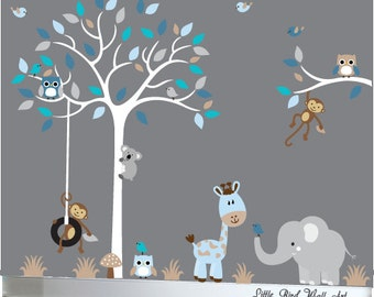 baby boy wall decal nursery white tree wall decal grey baby boy nursery wall decal etsy