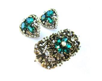 Demi Parure Earrings Brooch Set Emerald Green Rhinestone