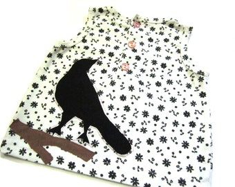 Black Birds Baby Tank Top - Upcycled Birds & Tree Branches on Black and White Flowered Print - 1 Year 12 Months